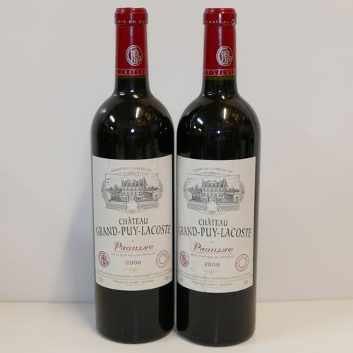 2 Btles Château Grand Puy Lacoste 2006 5ème GCC Pauillac étiquettes très très lé…