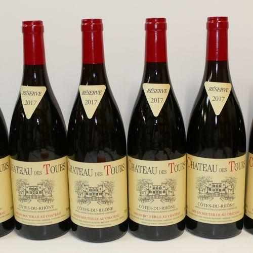 6 Btles Côtes du Rhône rouge Château des Tours 2017 IC 10/10 PM Tva incluse et r…