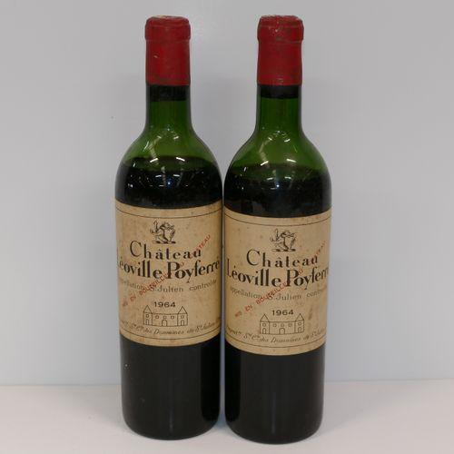 2 Btles Château Léoville Poyferré 1964 2nd GCC Saint Julien 氧化的瓶盖,沥干的水平,略显肮脏的标签 …