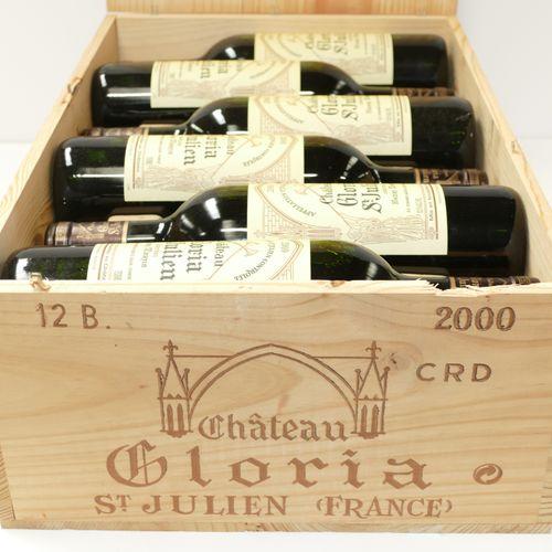 12 Btles Château Gloria 2000 Saint Julien en caisse bois d'origine IC 10/10 PM E…