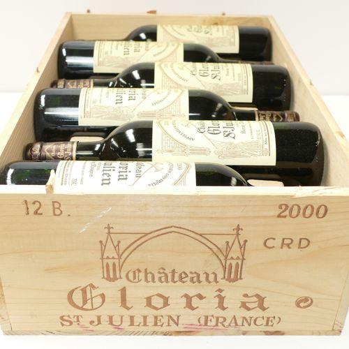 12 Btles Château Gloria 2000 Saint Julien,原装木箱 IC 10/10 PM 专家:Emilie和Robert Gorr…