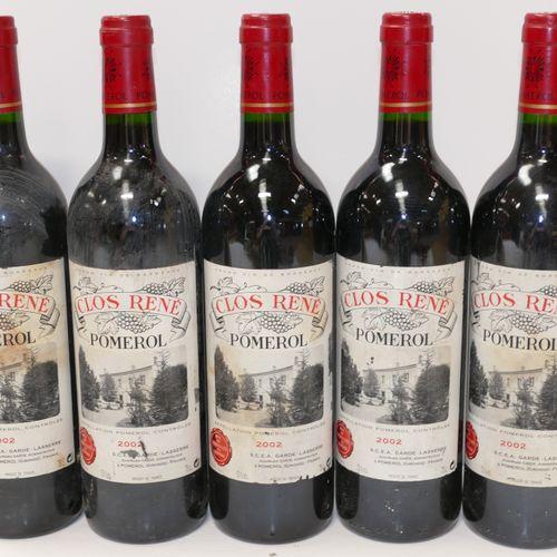 5 Btles Château Clos René 2002 Pomerol 脏和损坏的标签 专家:Emilie et Robert Gorreteau