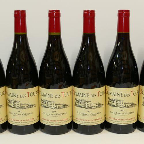 6 Btles Vin de Pays de Vaucluse rouge Domaine des Tours 2017 IC 10/10 PM 包括增值税,可…