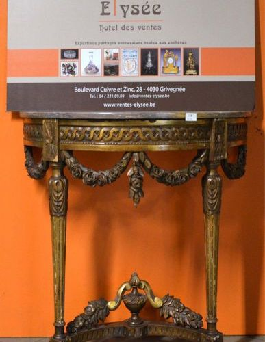 19th century gilded carved wood half moon console table in the Louis XVI style, …