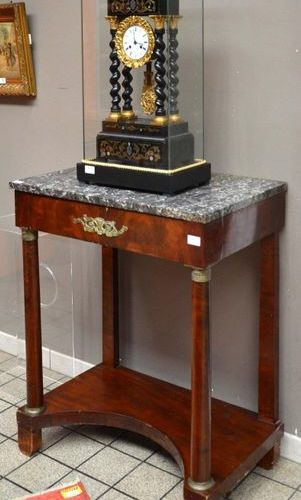 Empire period mahogany console table with bronze ring columns, opening to a draw…