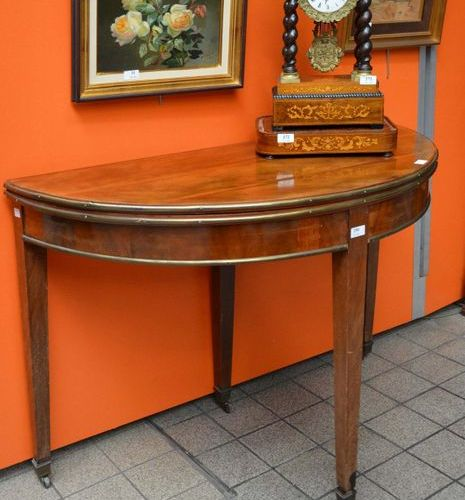 19th century half moon console table forming a round table, in polished wood, th…
