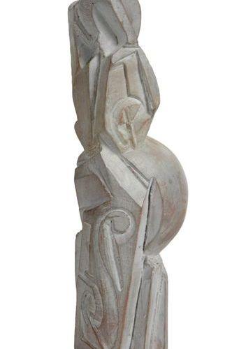 TRAVAIL MODERNE TRAVAIL MODERNE  Sculpture cubisante en terre cuite émaillée pat…