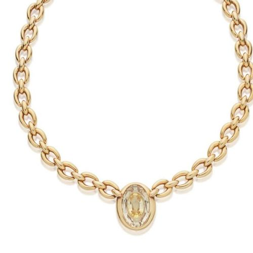 CARTIER YELLOW SAPPHIRE AND ROCK CRYSTAL NECKLACE METAL: 18K gold (750) YELLOW S…