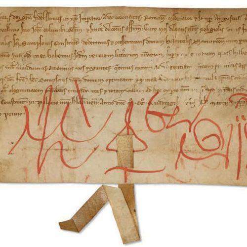 BAUDOUIN II DE COURTENAY, EMPEREUR DE CONSTANTINOPLE (1217 1273). Acte signé, ac…