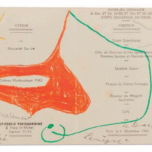 MIRO, Joan (1893 1983). Dessin original dédicacé et signé. Paris, 1966. Dessin o…