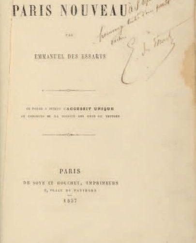ESSARTS, Emmanuel des (1839 1909). Paris Nouveau. Paris : de Soye et Bouchet, 18…