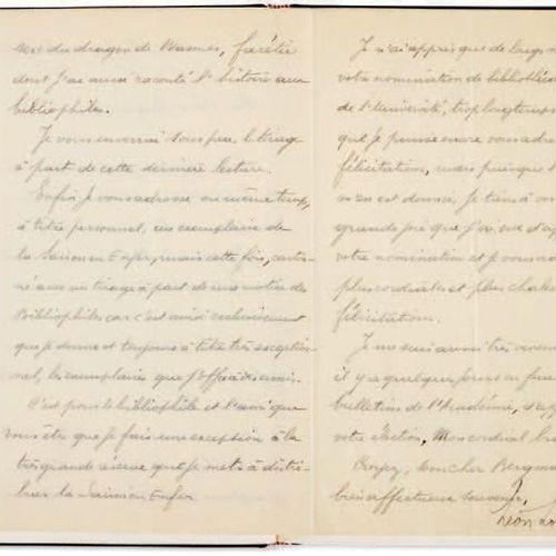 [RIMBAUD, Arthur (1854 1891)] LOSSEAU, Léon (1869 1949). Lettre autographe signé…