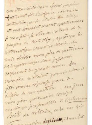 VIGNY, Alfred de (1797 1863). Fragment du manuscrit autographe du journal de l'a…