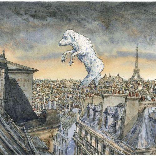 Nicolas de CRÉCY (né en 1966) ? Le Yokai de Montmartre Encre noire et aquarelles…