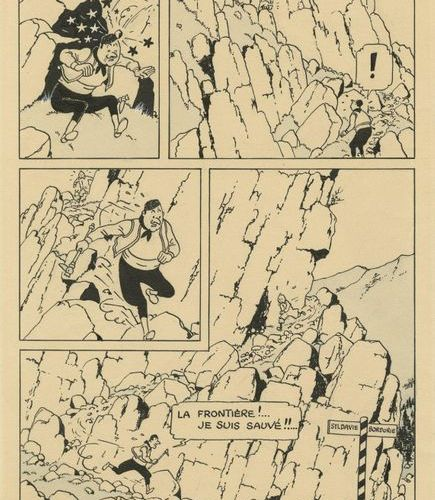 HERGÉ (1907 1983) ? °° ? Tintin et Milou Le sceptre d'Ottokar Encre de Chine sur…