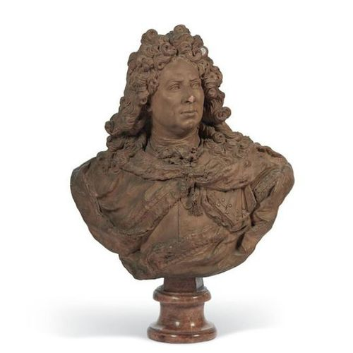 ■ EARTH BUST REPRESENTING PROBABLY ANTOINE COYSEVOX (1640 1720) FRANCE, IN THE 1…