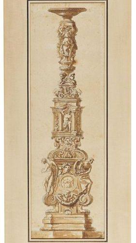 École FRANÇAISE du XVIIIe siècle Project of a sculpted candelabra pen and black …