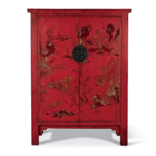 ■ CABINET IN GOLD GOLD LAQUER ON RED BACKGROUND CHINA, QING DYNASTY, XVIIIth CEN…