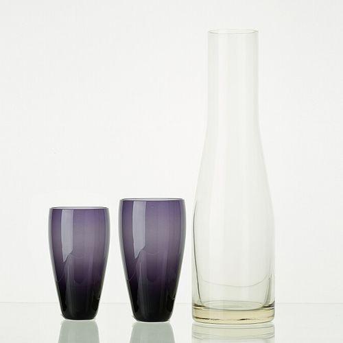 Lot comprenant:   6 verres MYRTILLE translucides H: 9cm   5 verres MYRTILLE tran…