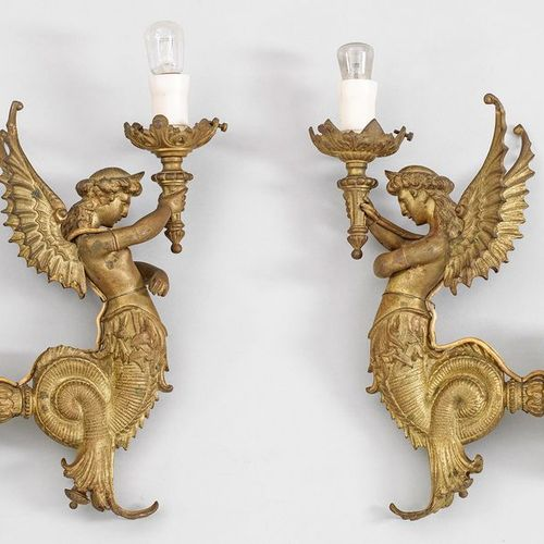 Pair of Belle Epoque wall appliques 1 panel; bronze, gilded. Rosette shaped wall…