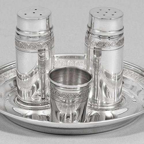 Salz und Pfefferstreuer Silber. 4 tlg.; Salz und Pfefferstreuer, Zahnstocherbehä…