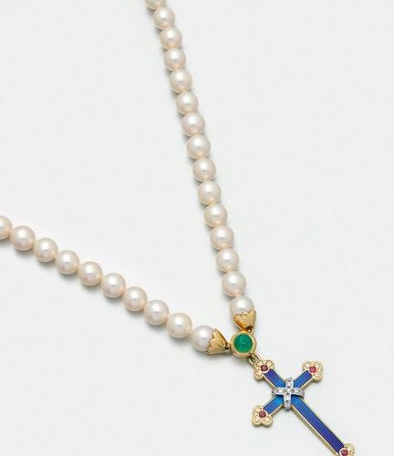 Pearl necklace with cross pendant from the Fabergé collection by Victor Mayer. Y…