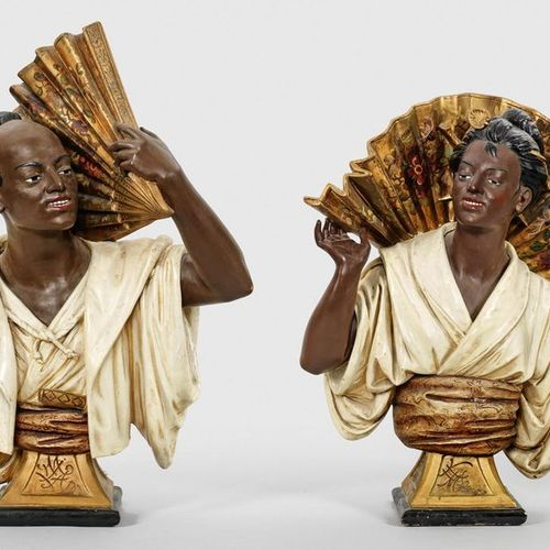 Pair of large busts of an Asian couple with fan counterparts. Terracotta, polych…