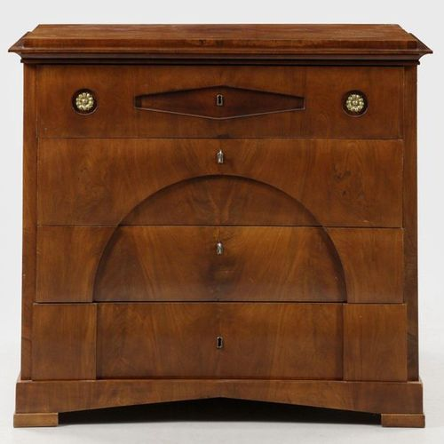 Large Biedermeier writing desk Mahogany, veneered. Straight, rectangular body on…