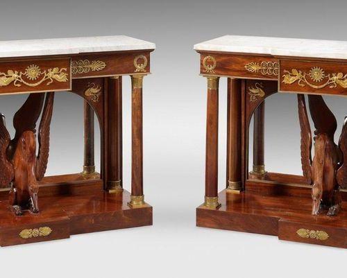 Pair of large representative Empire console tables Mahogany, veneered on oak woo…