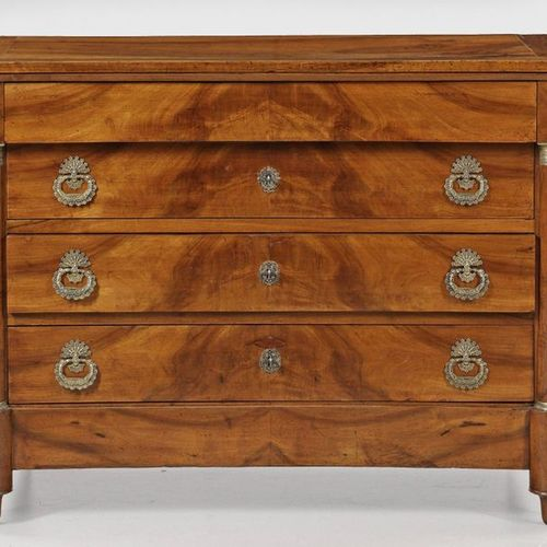 Large Empire chest of drawers Walnut, veneered. Straight, transversely rectangul…
