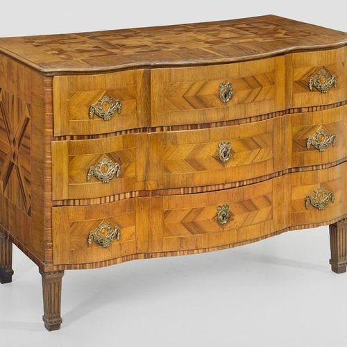 Large Louis XVI chest of drawers Walnut, plum wood and oak, veneered. Straight b…