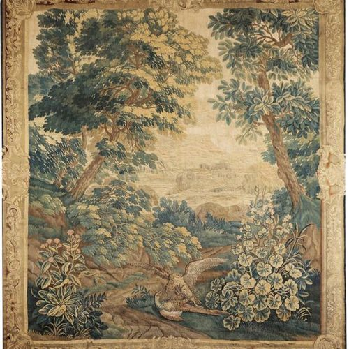 Louis XV tapestry with hunting motifs Wool in various shades of green, beige and…