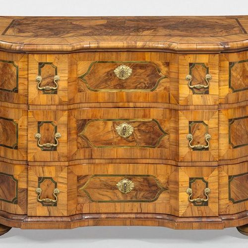 Large baroque chest of drawers Walnut, veneered as well as partly green coloured…