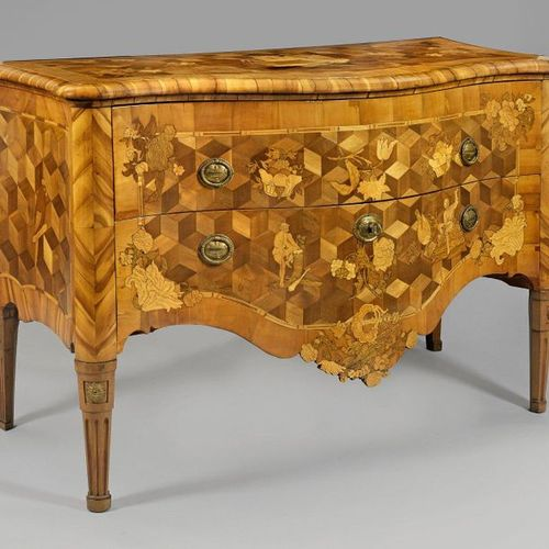 Fridericiancian rococo chest of drawers by the Spindler brothers with elaborate …