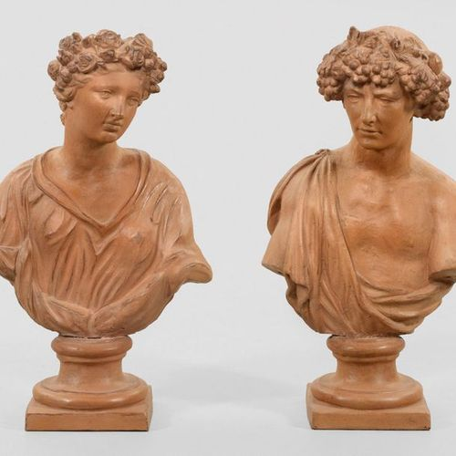 French sculptor (active in the 19th century) Pair of large busts representing Ba…