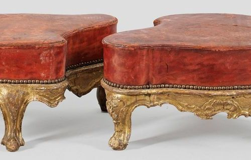Rare pair of Venetian Baroque Tabourets Wood, carved, set and gilded. Cartouche …