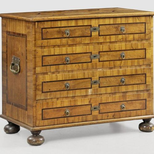 Baroque chest of drawers Walnut and oak wood, veneered and plum wood inlays. Str…