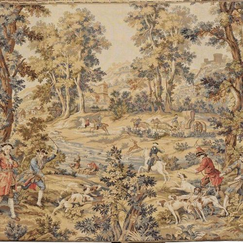 Tapestry in Louis XV style Cotton in various shades of beige, red, blue and crea…