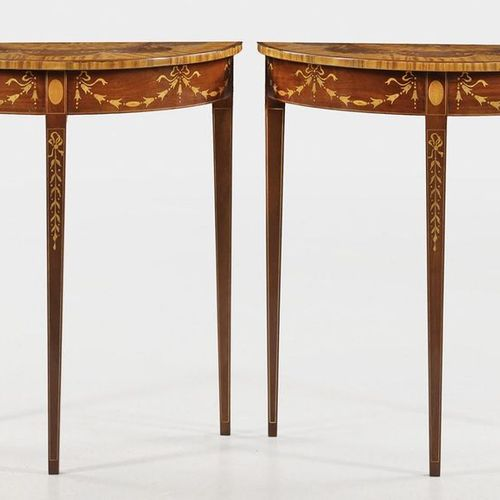 Pair of Demilune console tables Mahogany, satinwood and thuja burl, solid and ve…