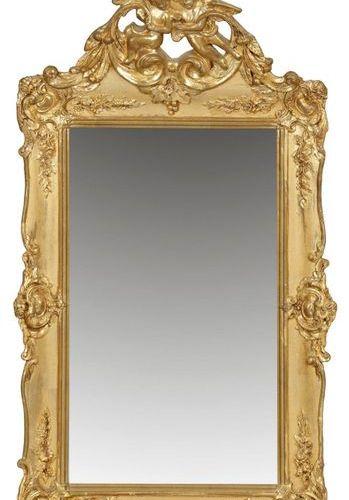 Belle Epoque Wandspiegel Holz, stuckiert, gefasst und vergoldet. Hochrechteckige…