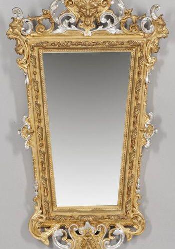 Belle Epoque Wandspiegel mit Konsole Holz, stuckiert, gefasst und vergoldet bzw.…