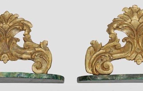 Paar Wandkonsolen im Barock Stil Holz, geschnitzt, gefasst und vergoldet bzw. Mi…