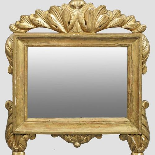 Kleiner Louis XVI Wandspiegel Holz, geschnitzt, gefasst und vergoldet. Querrecht…