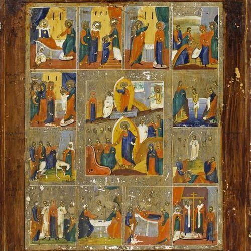 Große Festtagsikone Temperamalerei und Versilberung auf Holz. Im Mittelfeld Aufe…