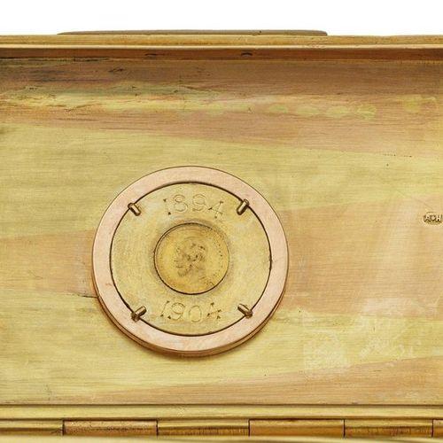 Qualitätvolles Fabergé Zigarettenetui Rot und Gelbgold à deux couleurs. Rechteck…