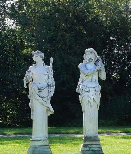 Italienischer Bildhauer (Tätig im 20 Jh.) Paar Hermen als monumentale Parkskulpt…
