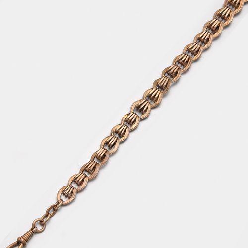 Jugendstil Uhrenkette Or rose, 8 ct. ; Chaîne à maillons finement ornée avec fer…