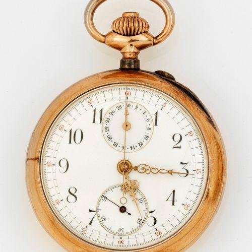 Belle Epoque Taschenuhr mit Chronograph 2e moitié du XIXe siècle ; or rose, poin…