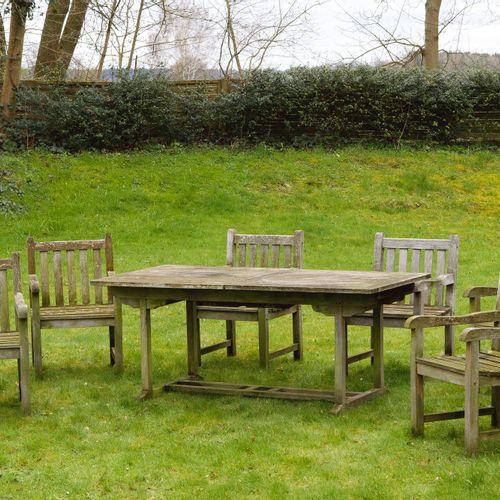 Garnitur Gartenmöbel 7 pièces ; table à rallonge et six fauteuils. Bois de teck,…