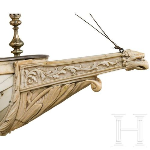 A magnificent French or German table centrepiece in the shape of a large ivory s…